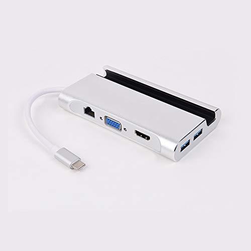 NinJaSun Typ-c erweitert die Ladehalterung für den HDMI + VGA + RJ45 + 3 * USB3.0 + PD-Hub,Silver