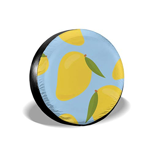 Sula-Lit Copricerchi per Pneumatici e Ruote Colorati, Disegnati a Mano, Motivo Mango, per Jeep Camper RV SUV, Accessori di Protezione per Ruote da 38,1 cm