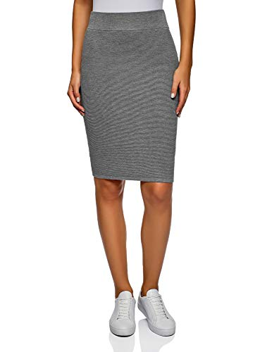 oodji Collection Damen Bleistiftrock Gerippt, Grau, DE 40 / EU 42 / L -