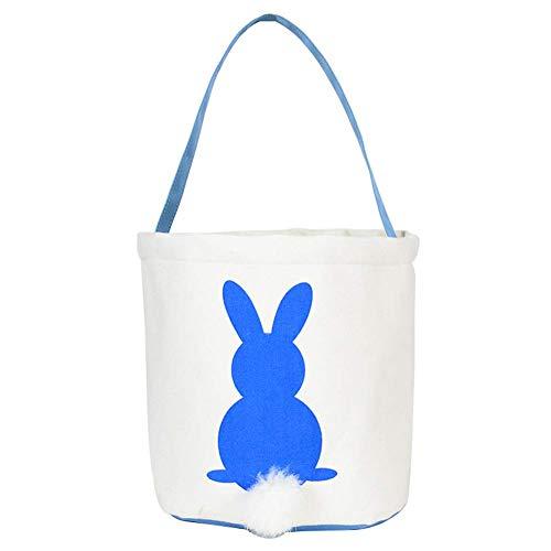 czos88 Handtasche Wiederverwendbar Hase Candy Dekoration Bunny Tote Leinwand Korb Schwanz Oster Tasche Zubehör Geburtstag Lila - Blau, Free Size
