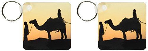 3drose Wüste Kamele sind A Way Of Transport–Schlüssel Ketten, 5,7x 5,7cm, Set 2Stück (KC _ 10070_ 1)