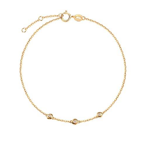 18 Karat 750 Gelb Gold mit Natürlichem Diamant 0.045 ct - Armbandlänge: 17 + 3 cm