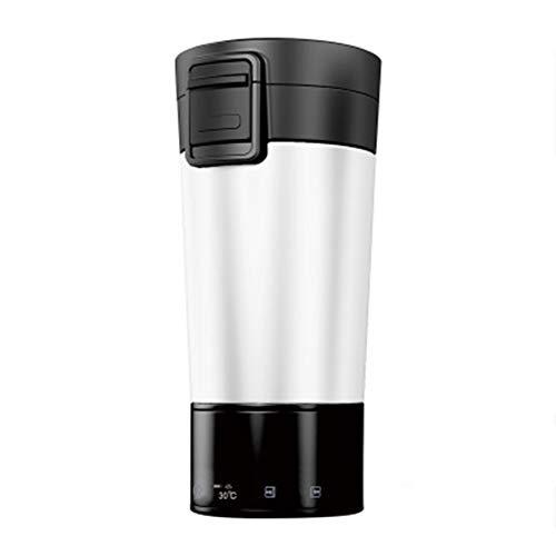 LJSHU Auto Heizung Tasse Edelstahl Lithium-Batterie Intelligente Temperaturregelung Können Mobile Lade Schatz Outdoor Reise Heizung Isolierung Wasserkocher,White
