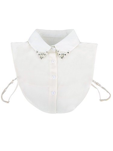 Shappy Detachable Collar Dickey Collar Blouse Shirt False Collar with Rhinestone and Pearl for Women, White Test