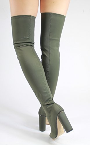Generic - stivali sopra al ginocchio donna Khaki