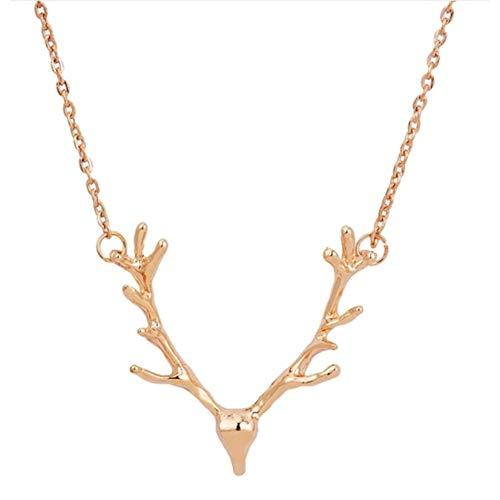 EROSPA® Halskette mit Geweih-Anhänger - Elch Hirsch - Dirndl Wiesn Oktoberfest Trachtenkette Trachtenschmuck- Damen/Frauen/Mädchen (Gold)