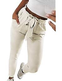 HX fashion Mujer Falda Lápiz Otoño Cintura Alta Pantalones De Tiempo Libre Rayas  Verticales Bolsillos Delanteros e5e4b06db037