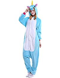 Unicornio Pijamas Unisex Adulto Cosplay Disfraz de Halloween Animal Pijamas Mono de Invierno Unisex Animales