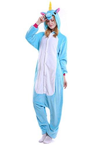 Unicornio Pijamas Unisex Adulto Cosplay Disfraz de Halloween Animal Pijamas Mono de Invierno Unisex Animales (L, Azul)