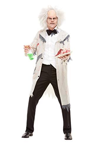 Mad Kostüm Scientist - Smiffys 51026M Mad Scientist Kostüm, Herren, Grau, M - Größe 96,5-101,6 cm