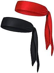 Sports Headband Head Tie 2-Packs Quick-Drying Sweatband for Men/Women Running Basketball Tennis Karate Yogo Athletics & Pira