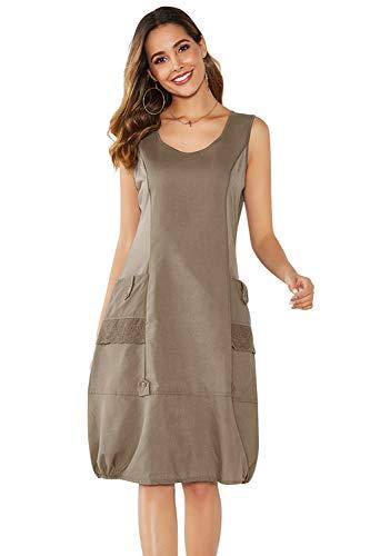 Yidarton Damen Kleider Strand Elegant Casual A-Linie Kleid Ärmellos Sommerkleider (XXL, Kaffee)