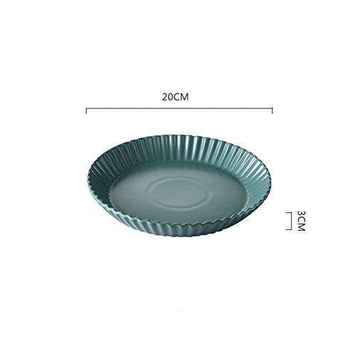 Einfache runde Keramikplatte großer Haushalt tiefe Platte Suppenteller Teller Knödel Teller Mikrowelle Teller Tinte grün Wellscheibe (Mikrowelle Knödel)
