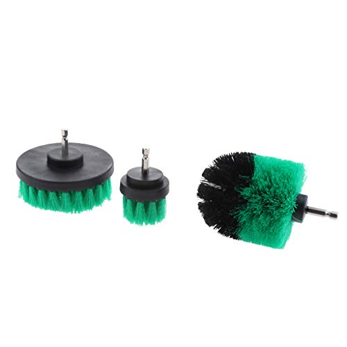 Reinigungsbürste Power scrubbing brush mit mittelharten Borsten, 3 tlg, Ø100 mm, Ø80 mm, Ø40 mm, mit 1/4 Zoll Sechskantschaft - Grün