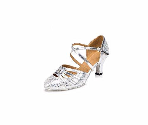 SQIAO-X- Oro Argento Scarpe moderne, Adulti amicizia scarpe da ballo Square Dance Scarpe, Scarpe High-Heeled morbida danza di fondo Argento 6cm (interno)