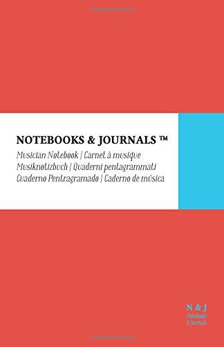 Cuaderno de Música Notebooks & Journals, Large, Coral, Tapa Blanda: (13.97 x 21.59 cm)(Cuaderno Pentagramado, Libreta Pentagrama, Bloc de Música) por Notebooks & Journals
