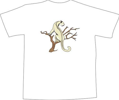 T-Shirt E581 Schönes T-Shirt mit farbigem Brustaufdruck - Logo / Grafik - Comic Design - Schneeleopard lauert auf einem Baum Schwarz