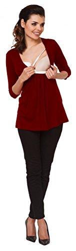 Zeta Ville - Maternité top de grossesse - Tee-shirt d'allaitement - femme - 372c Cramoisi