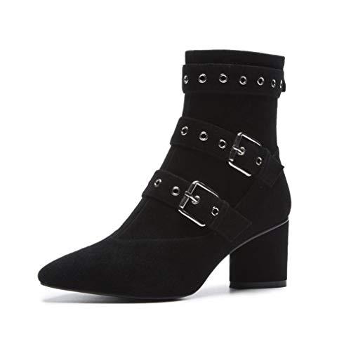 Leder Ankle Boot Spitze (YAN Damen Ankle Boots, Mode Nieten Stiefel Leder Spitze Rough High Heels Kleid Schuhe Hochzeit & Abend Formelle Schuhe (Farbe : B, Größe : 38))