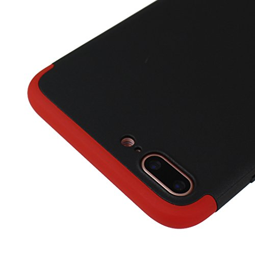 iPhone 7 Plus Hülle Outdoor, iPhone 7 Plus Case, Rosa Schleife Slim Stoßfestes Schutzhülle Hybrid Cover 3 in 1 Armor Handyhülle Plastik Hart Cases Bumper Robuste Hülle für iPhone 7 Plus Rot schwarz Rot schwarz