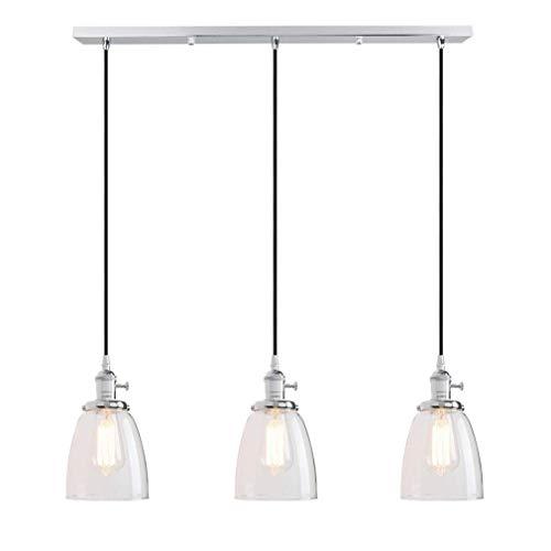 ZHANG NAN ● Kronleuchter esszimmer Lampe industriellen Stil pendelleuchte runde Glas Schatten anhänger pendelleuchte for Wohnzimmer Restaurant café bar, 3 & Times;E27, Kabel 2M höhenverstellbar ● -