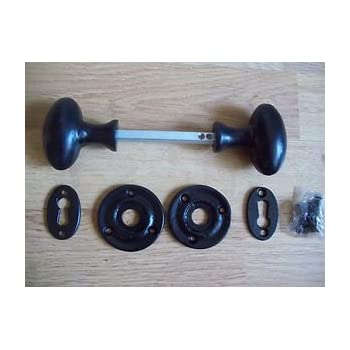 Ironmongery World Black Antique Cast Iron Oval Rim Mortice Door Knobs Handles.