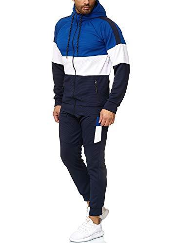 OneRedox Herren Jogginganzug Sportanzug Trainingsanzug Sweatshirt Hose Jogging Anzug Modell 1055 Blau Weiss Navy M