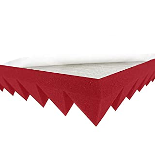 Akustikpur Acoustic Foam Pyramid Foam Colour Red/Pink Self-Adhesive, Approx. 49 x 49 x 5 cm) Sound Insulation Mats for Effective Acoustic Insulation