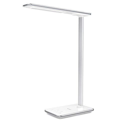 AUKEY Lámpara Escritorio LED, Flexo Regulable con Mini Luz Nocturna, Cargador USB Incluido, 5 Niveles, 3 Modos de Brillo y Temporizador de 1H, Control Táctil, Blanco