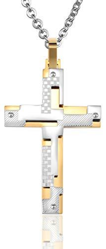 Abellale Edelstahl Halsketten, Kettenanhänger Herren Checker Diagonal Puzzle Kreuz 53X35MM Gold, Kostenlose Gravur Diagonale Checker