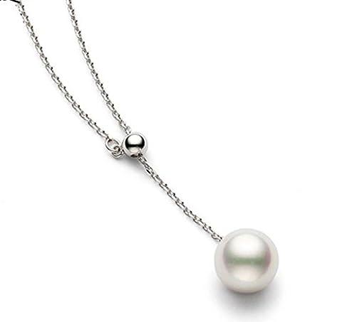 findout dames en argent sterling collier simple pendentif perle élégante