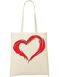 Heart Red Brush Bolso De Mano Bolsa De La Compra