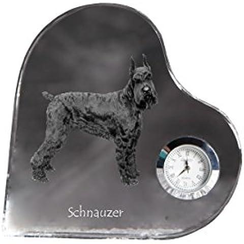 Schnauzer ritagliata, A forma di cuore orologio di cristallo con l'immagine di un cane