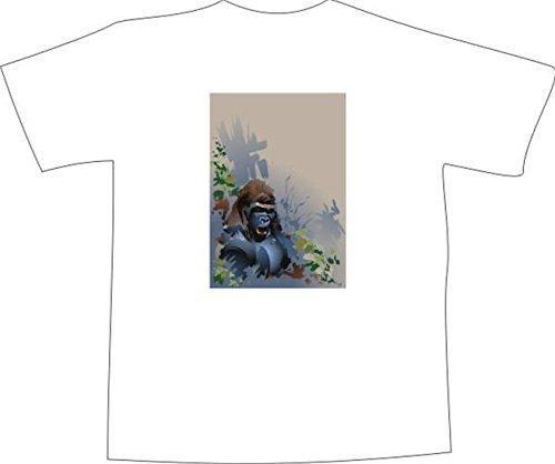 T-Shirt F1128 Schönes T-Shirt mit farbigem Brustaufdruck - wütend Gorilla Weiß