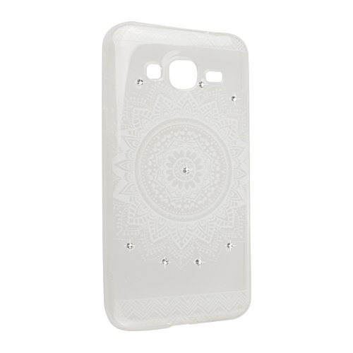 Galaxy J3 2015/2016 Schutzhülle, Rosa Schleife Samsung Galaxy J310 Crystal Case Handyhülle Ultra Dünn TPU Silikon Backcover Durchsichtig Gel Case Diamond Bling Schutzhülle klar für Samsung Galaxy J3 2 a - Weiß Mandala