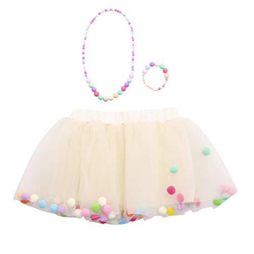Xmiral Kinder Baby Mädchen 4-Lagen Mesh Mini Tutu Rock + Armband + Halskette Ballet Unterrock Outfit Party Prinzessin Tüllrock(a Beige,M)