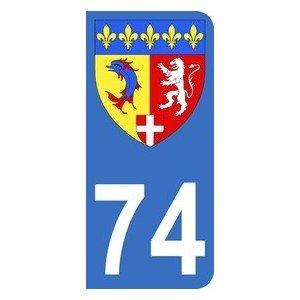 Autocollant 74 avec blason Rhône-Alpes plaque immatriculation Auto (9,8 x 4,5 cm)