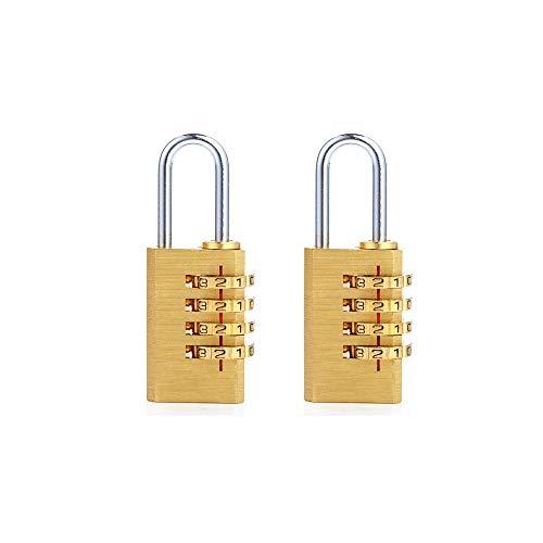 Ecentaur Messing Zahlenschloss Kombinationsschloss Vorhängeschloss Wetterfestes Metall Combination Lock Zahlenschlösser für Gym Turnhalle & Sports Locker, Kabinett 2 Stück