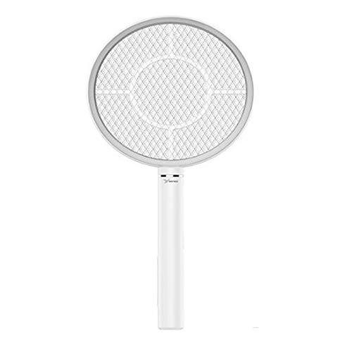 Wiederaufladbare elektrische Fliegenklatsche Handheld Bug Zapper für Mückenfliegen Killer für Schädlingsbekämpfung Indoor Outdoor Sicherheit Mesh Racket USB-Aufladung Char Runde -