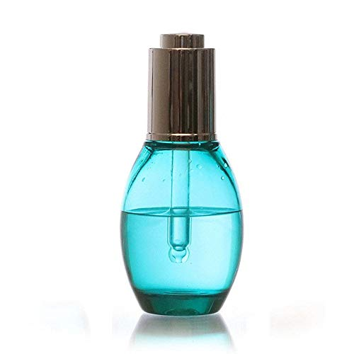 Chengxin Flaschen & Behälter 2pcs Dicke Wand dick High-End-Kosmetik ätherisches Öl Pfau blau oval Flache Essenz Flasche 40ml Flaschen & Behälter (Color : Blue, Size : 40ml) -