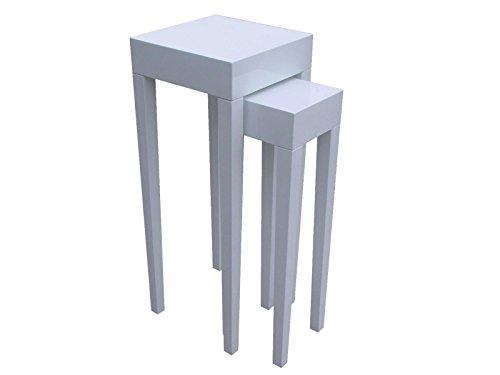 elbmöbel Weißes Beistelltisch Couchtisch 2er Set hochglänzend Konsole Lacktisch aus Holz Glanz, modern, Ablagetisch, schmal, niedrig, H90 x B35 x T35cm und H79 x B23 x T23cm