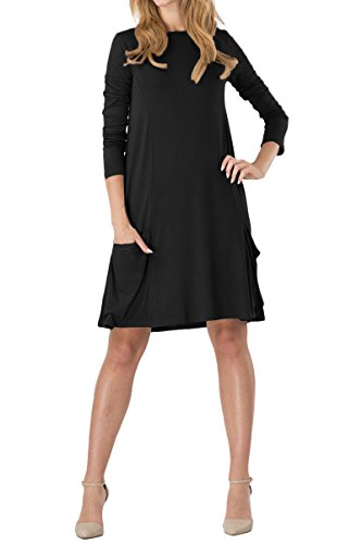 YMING Damen Langes Shirt Casual Looses Kleid Langarm Kleid Tunika Kleid Shirt Kleid,Schwarz,S/DE 36-38