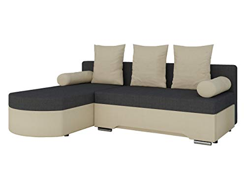 Mirjan24  Ecksofa Smart! Sofa Eckcouch Couch! mit Schlaffunktion und Bettkasten! Ottomane Universal, L-Form Couch Schlafsofa Bettsofa Farbauswahl (Porto 21 + Porto 35)