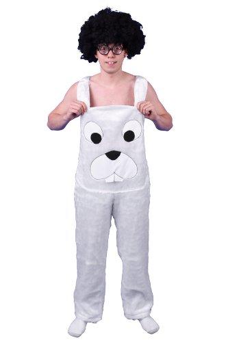 Plüschkostüm Hasen Kostüm Latzhose weiß Gr. L