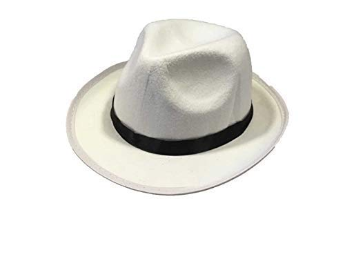 Kinder Kostüm Al Capone - Kinder Gangster Al Capone Michael Jackson Trilby Fedora Hut (Farbe: Weiß)