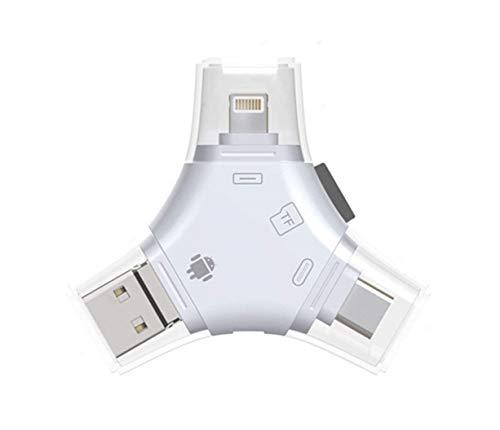 FUNXS Computer-Kartenleser SD/TF-Micro-Kartenleser, 4-in-1-Kartenleser mit Lightning- / Micro-USB- / Typ-C- / USB-Anschluss, externer Speichererweiterung für IOS iPhone/iPad/Mac/Android-Handys/PC-