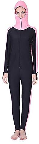 YEESAM Paar Damen Herren UV-Anzug UPF>50 Schutz swetsuit Schwimmanzug Schnorchelanzug Overall Watersport Burkini (Damen Rosa, Asien S - Körpergröße: 155-160 cm)