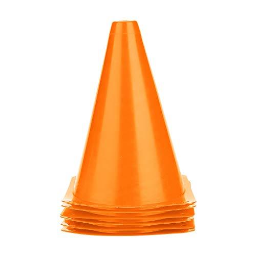 Alomejor 6pcs Fußball Trainings Kegel Plastikfußballbarrieren für Trainings Fußball & Hund Training 18CM 5 Farben zu Wählen (Orange) -