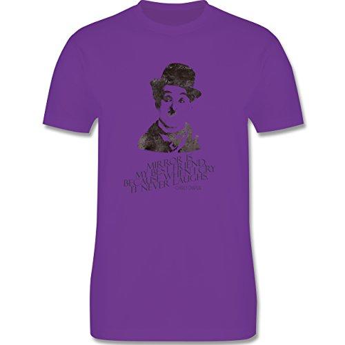 Vintage - Charlie Chaplin - mirror is my best friend - Herren Premium T-Shirt Lila