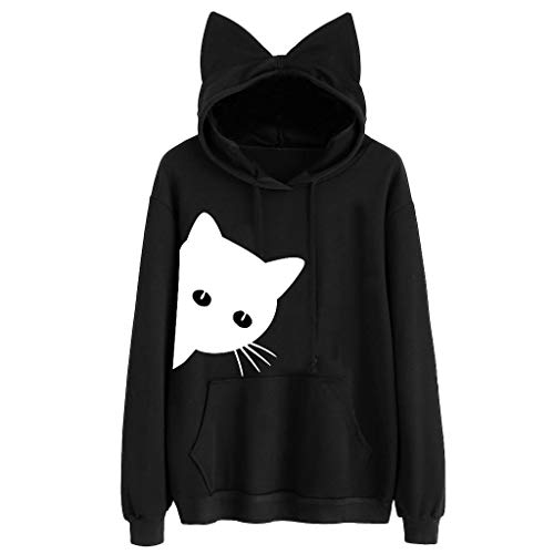 BaZhaHei Damen Sweatshirts warm weich Herbst Winter Langarmshirts T-Shirt Sport Bluse Mode Tops Katze Long Sleeve Hoodie Pullover apuzenpullover Winterpullover